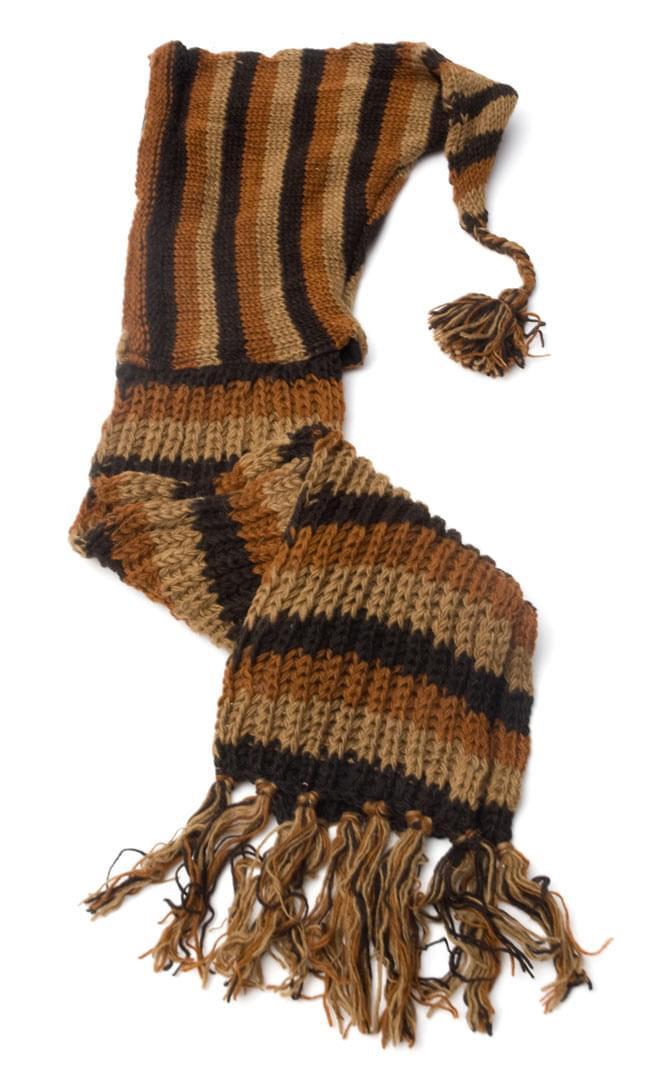 帽子付きカラフルボーダーマフラー 【ブラウン系】2-全体像です。ざっくり編みがレトロでいい感じです♪\