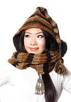 帽子付きカラフルボーダーマフラー 【ブラウン系】の個別写真