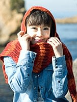 帽子付きカラフルボーダーマフラー 【赤&オレンジ系】の個別写真
