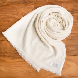 パシュミナ100% 大判手織りストール - ホワイトの個別写真