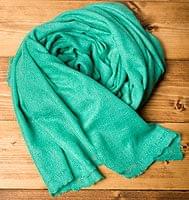 パシュミナ100% 大判手織りストール - ターコイズの個別写真