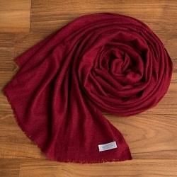 パシュミナ100% 大判手織りストール - えんじ色の個別写真