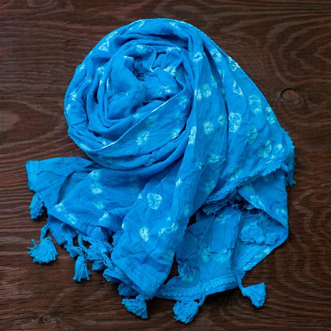 インドの絞り染めドゥパッタ - 水色
