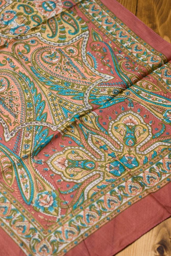 インド伝統柄のコットンスカーフ - マロン