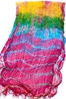 インドの薄ショール クリンクル タイダイドゥパッタ - ビビッドピンクの個別写真