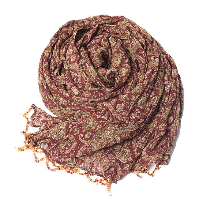 インドの薄ショール クリンクル ドゥパッタ - 赤 ペイズリー2-ペイズリー柄が艶やかです\