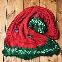 〔2枚セット〕あなたが完成させる 伝統の絞り染めストール バンデジ - 赤×緑系の個別写真
