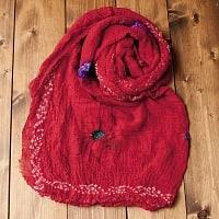 〔2枚セット〕あなたが完成させる 伝統の絞り染めストール バンデジ - 赤系の個別写真