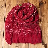 あなたが完成させる 伝統の絞り染めストール バンデジ - 赤系の個別写真