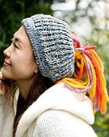 フェルトのポンポン ニット帽 - ブルーグレー×オレンジの個別写真