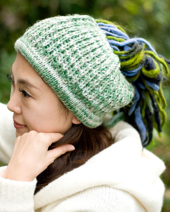 フェルトのポンポン ニット帽 - グリーン