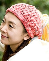 フェルトのポンポン ニット帽 - 赤ピンクの個別写真