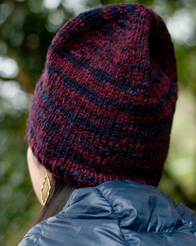 ウールニット帽 【えんじ】2-後ろ姿はこんな感じです。\