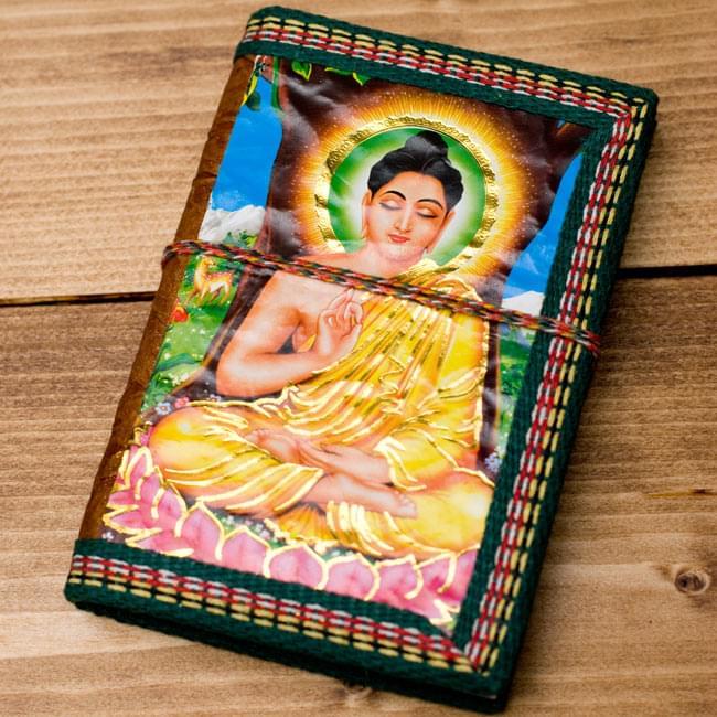 〈12.8cm×8.5cm〉インドの神様柄紙メモ帳 - ブッダ