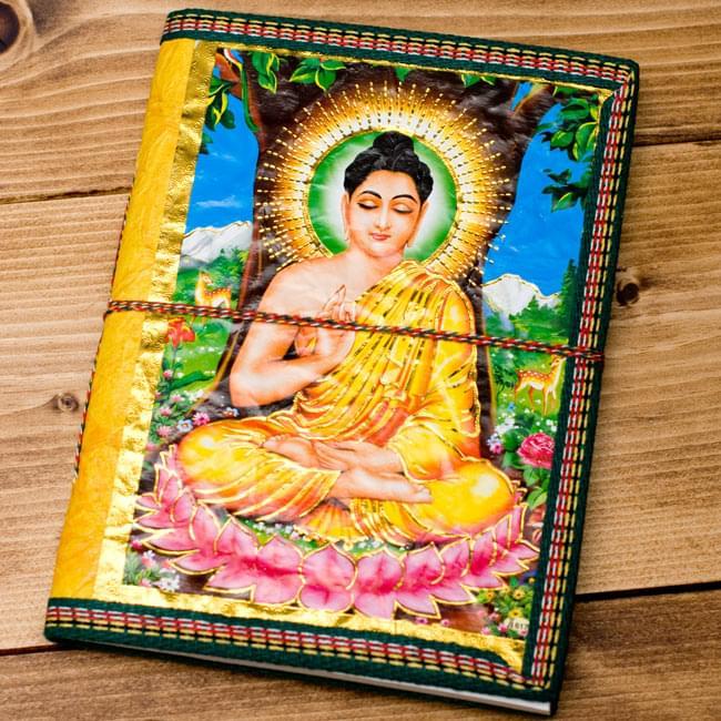 〈19.5cm×14.5cm〉インドの神様柄紙メモ帳 - カラフル 神様の写真
