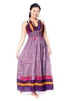 オールドサリーマキシワンピース - 紫・青系の個別写真