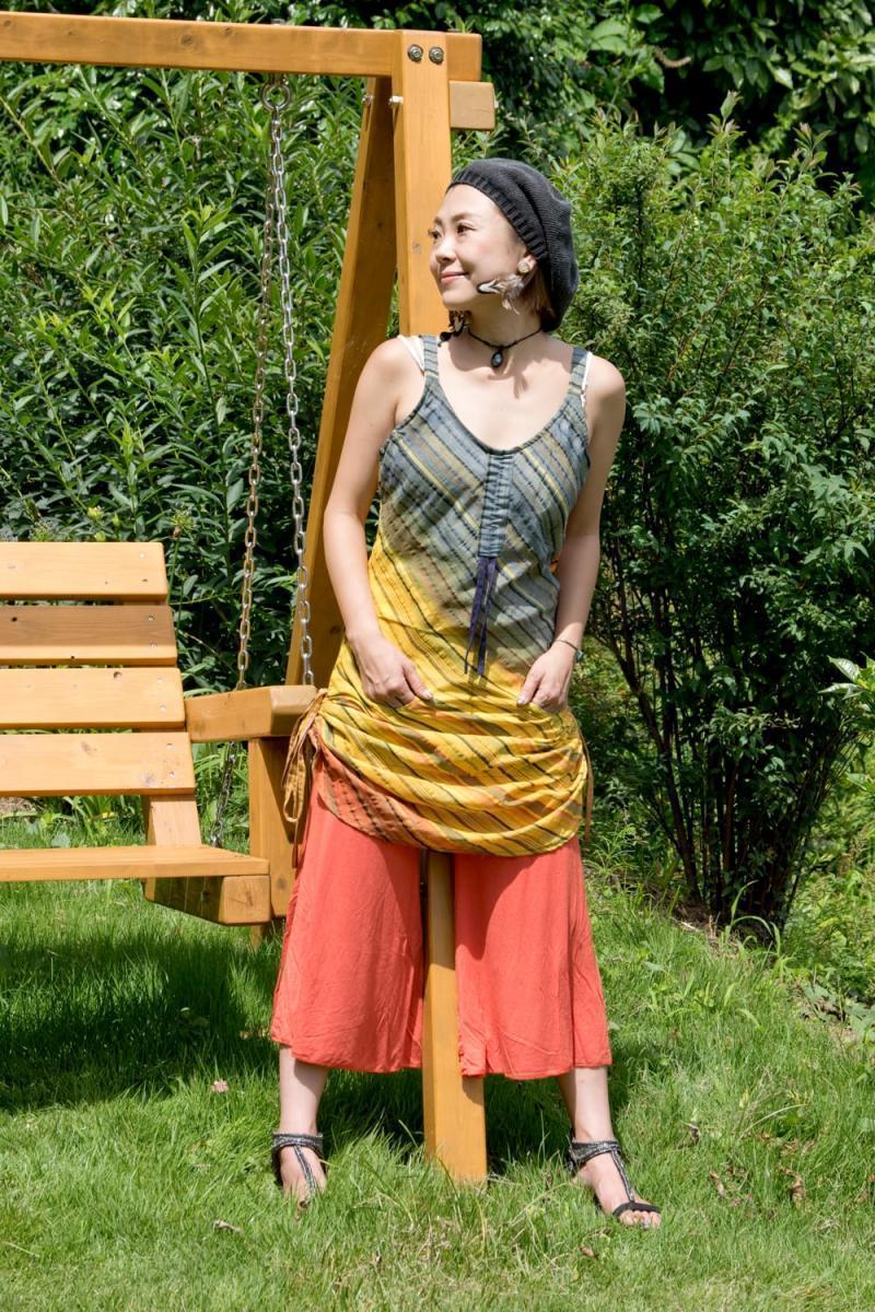 サークルポケットのシャーリングコットンワンピースの個別写真