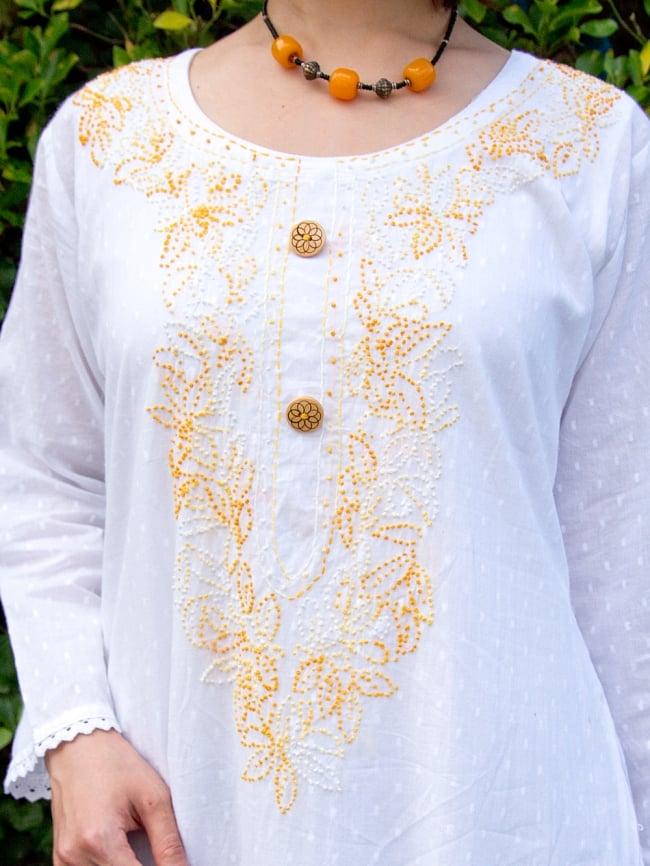 インナー付きが嬉しい!ホワイトドット生地の刺繍クルティの選択用写真