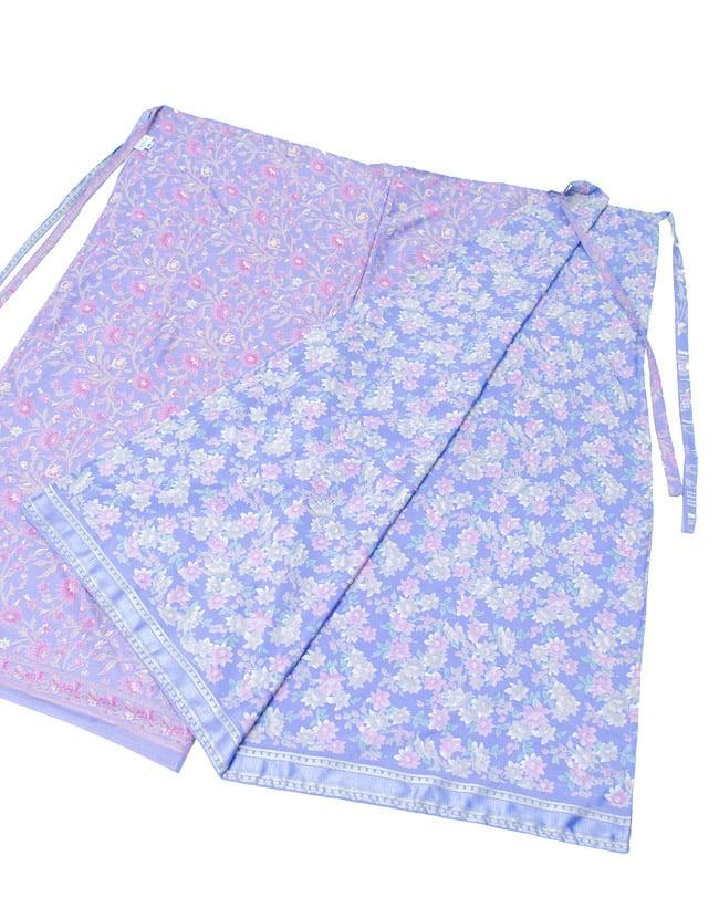リバーシブル サリー生地タイパンツ 【紫系】2-リバーシブルなので、その日の気分で柄を選べるのがうれしいですね。\