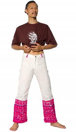 カッチ地方のトライバル刺繍パンツ - 白の個別写真