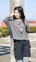 バック刺繍スウェットショートパンツ 【黒】の個別写真