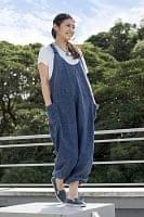 ストーンウォッシュサロペット 【青】の個別写真