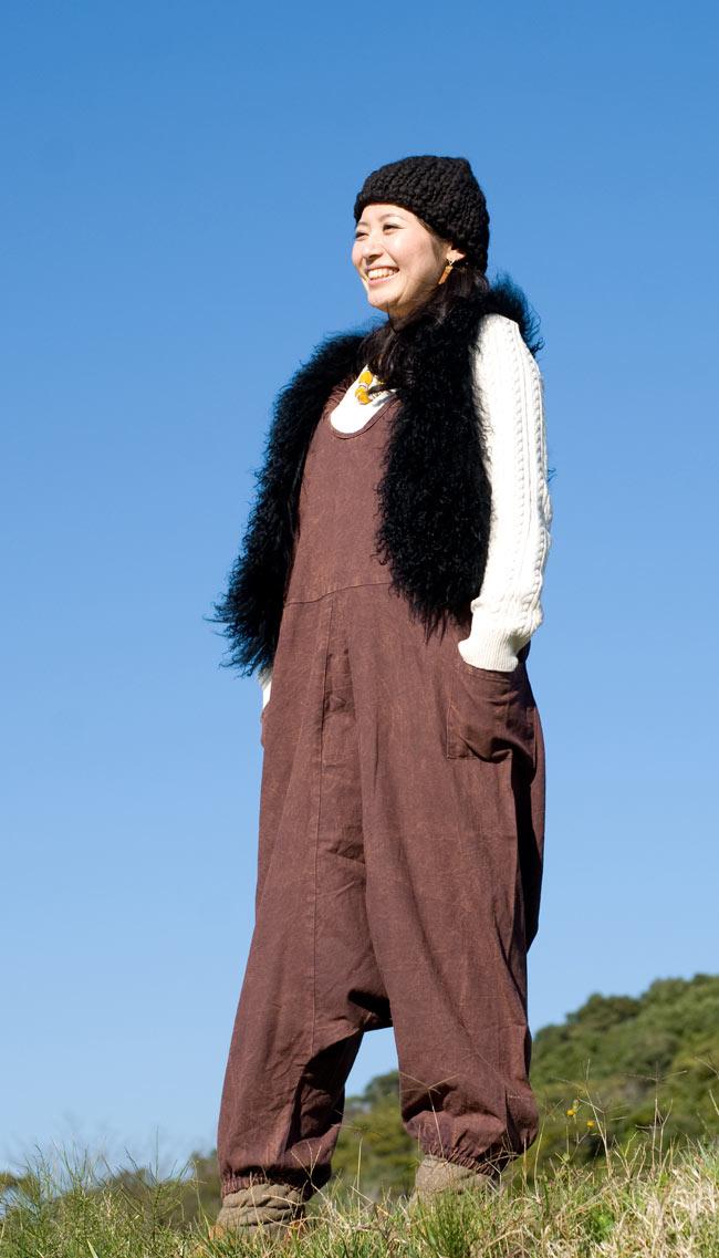 ストーンウォッシュサロペット 【茶】2-足首がゴムなので多少大きくても問題なく着れちゃいます!\