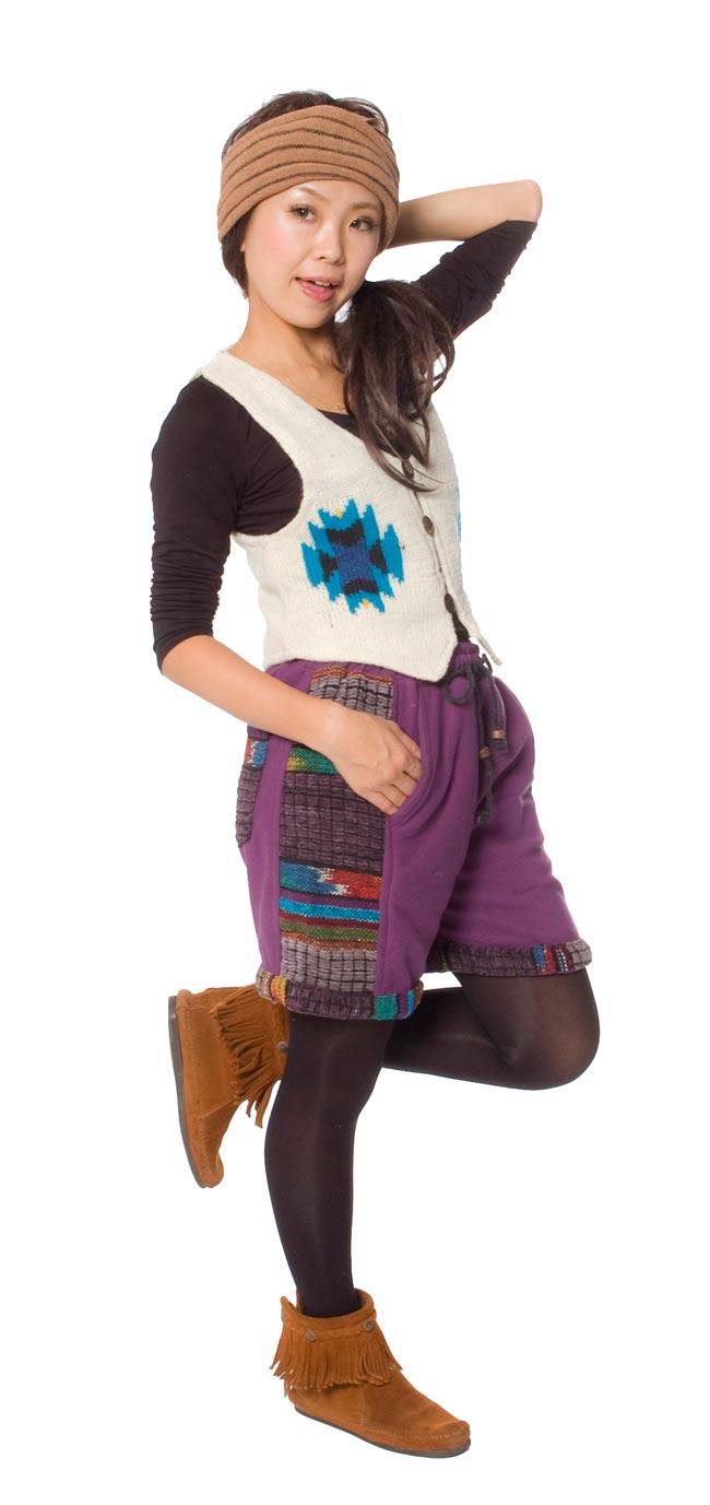ネパールのフリースハーフパンツ 【紫】