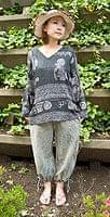 ストーンウォッシュの八分丈パンツ 【ブルーグレー】の個別写真