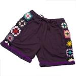 お花刺繍のスウェットハーフパンツの個別写真