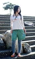 バック刺繍スウェットショートパンツ 【ライトグリーン】の個別写真