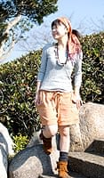 バック刺繍スウェットショートパンツ 【オレンジ】の個別写真