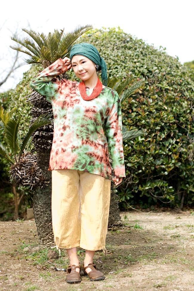 ストーンウォッシュの八分丈パンツ 【キャメルベージュ】2-合わせるものによって雰囲気が変わって使いやすいパンツです。\