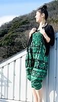 ぞうさんとお花の2WAYモモンガパンツ 【黒×グリーン】の個別写真
