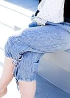 ストーンウォッシュの八分丈パンツ 【ブルー】の個別写真