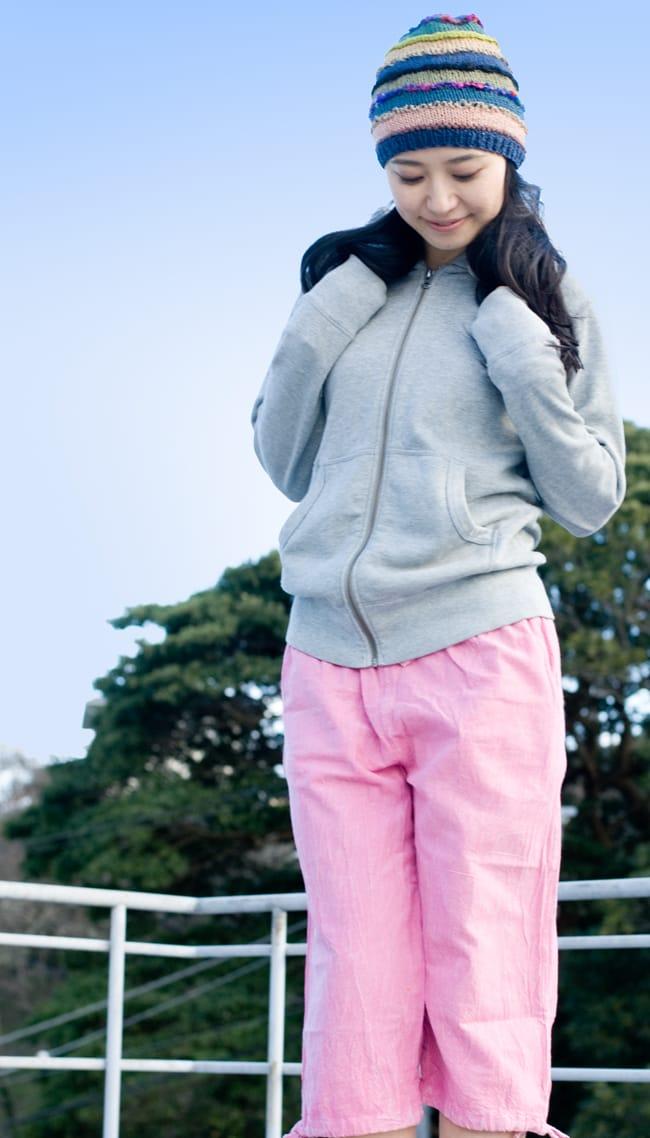 ストーンウォッシュの八分丈パンツ 【ピンク】2-爽やかなパステルカラーが可愛いです。\
