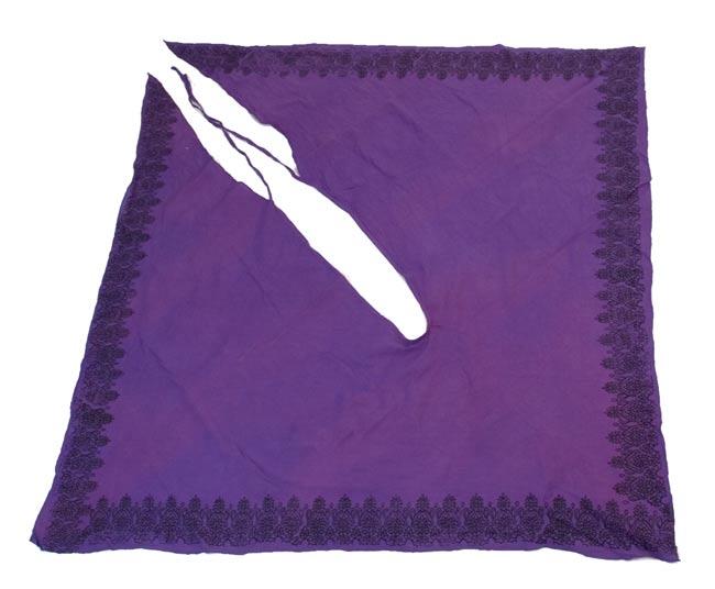 エスニックプリントスカートポンチョ【紫】 2-広げるとこんな感じ\