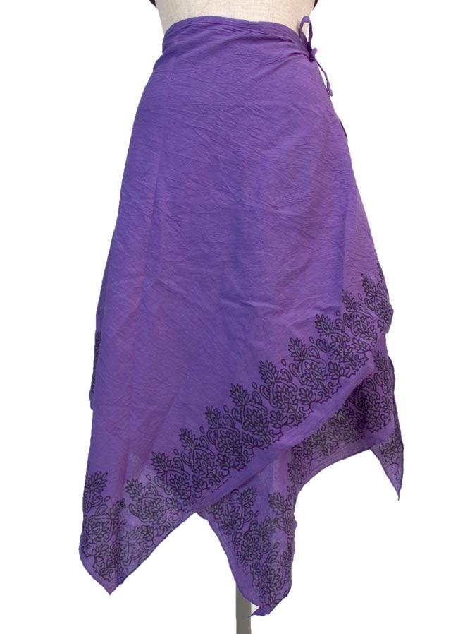 エスニックプリントスカートポンチョ【紫】