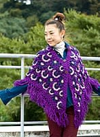 ウールポンチョ 紫系の個別写真