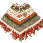 手編みのカラフルウールポンチョの個別写真