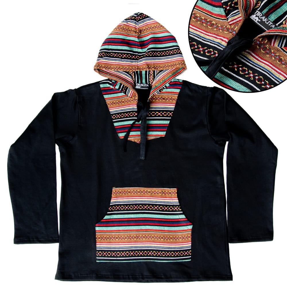 ネパール刺繍 さらふわ裏起毛プルオーバーパーカーの個別写真