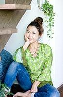 オールドサリー・ベルスリーブシャツ - 緑系の個別写真