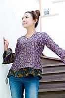 オールドサリー・ベルスリーブシャツ - 紫系の個別写真
