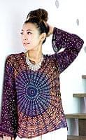 長袖ウッドブロックプリントシャツ - 紫の個別写真