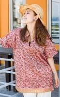 オールドサリーの半袖プルオーバーシャツ 赤・ピンク系の個別写真