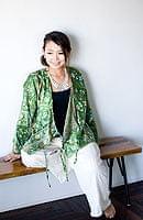 長袖リバーシブル・オールドサリー・カシュクール - 緑系の個別写真