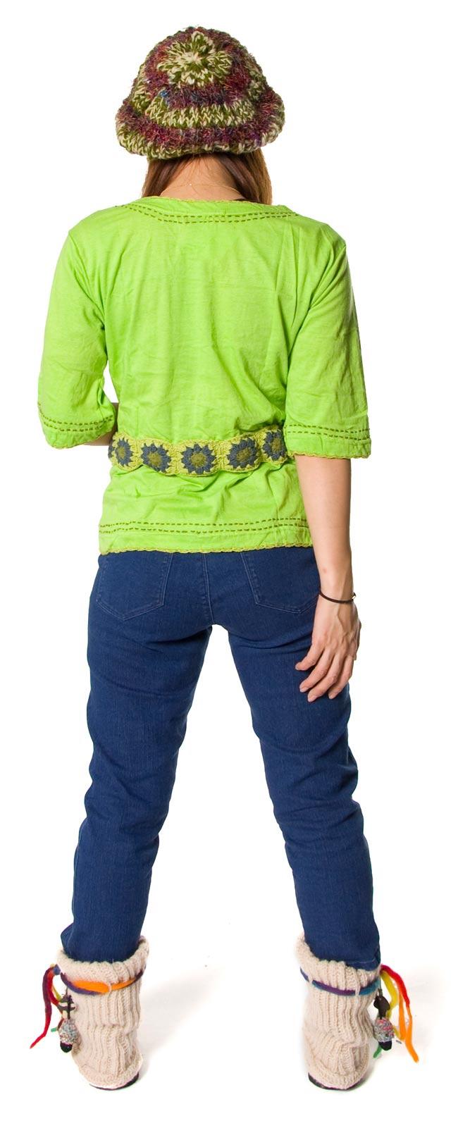 ベルト風刺繍ハーフスリーブTシャツ - 黄緑2-後ろはこんな感じです。\