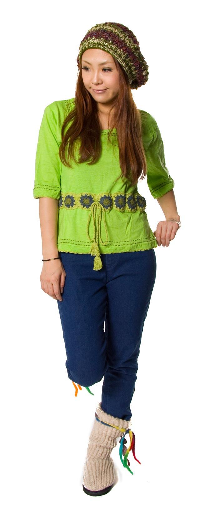 ベルト風刺繍ハーフスリーブTシャツ - 黄緑