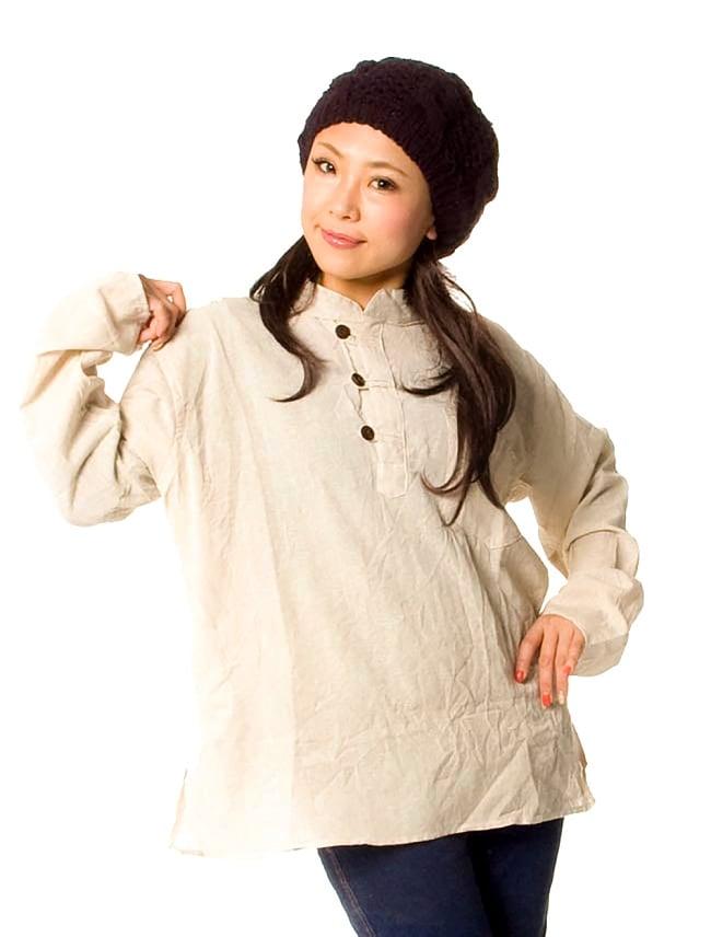 長袖シンプルコットンボタンクルタ 【きなり】2-身長150cmのスタッフが着てみました。女性でも男性でも問題なく着れますよ!\