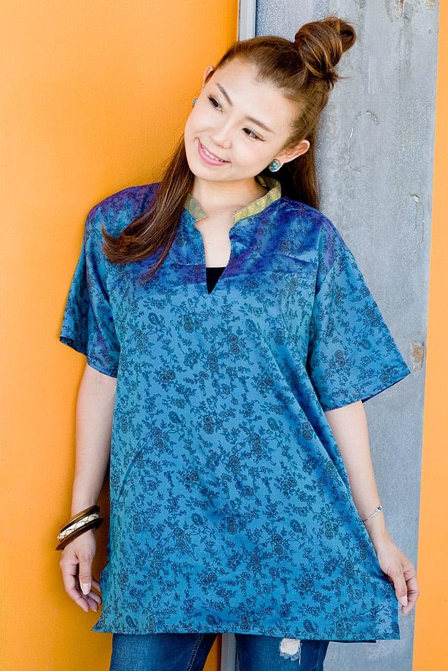 オールドサリーの半袖プルオーバーシャツ ブルー系の写真